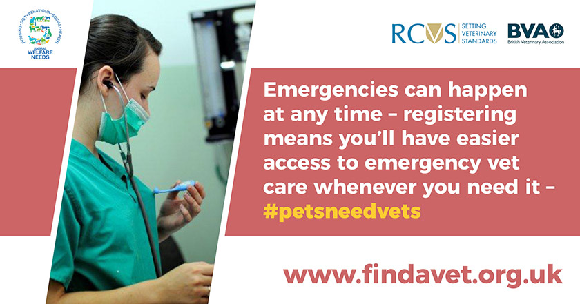 text - Emergencies can happen at any time - registering means you'll have easier access to emergency vet care whenever you need it