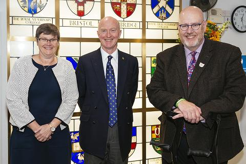Susan Paterson, Chris Proudman and Niall Connell in October 2019 following the approval of the University of Surrey's veterinary degree