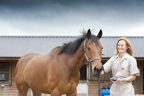 RCVS Impact Award winner Professor Sarah Freeman with horse